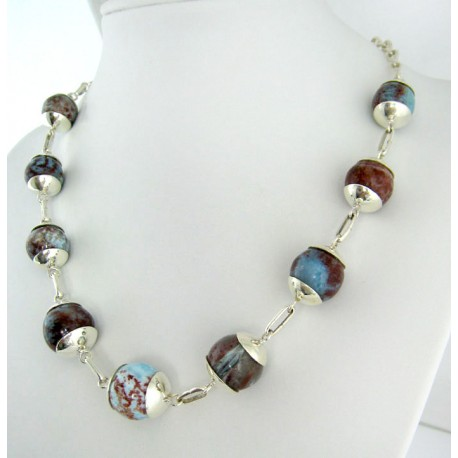 Larimar-Stone Yamir Collier Beads Necklace Sterling Silver 9397 899,00 €