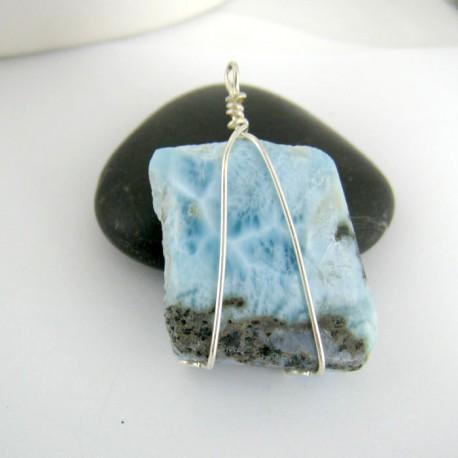 Larimar-Stone Anhänger Stein mit Silberdraht YS7 9422 29,00 €