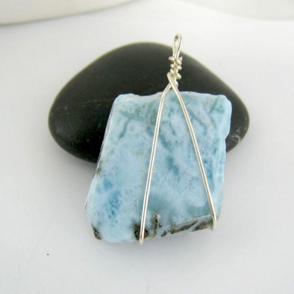 Anh nger stein mit silberdraht ys7 593 kaufen auf larimar - Silberdraht kaufen ...