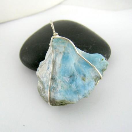Larimar-Stone Anhänger Stein mit Silberdraht YS8 9423 29,00 €