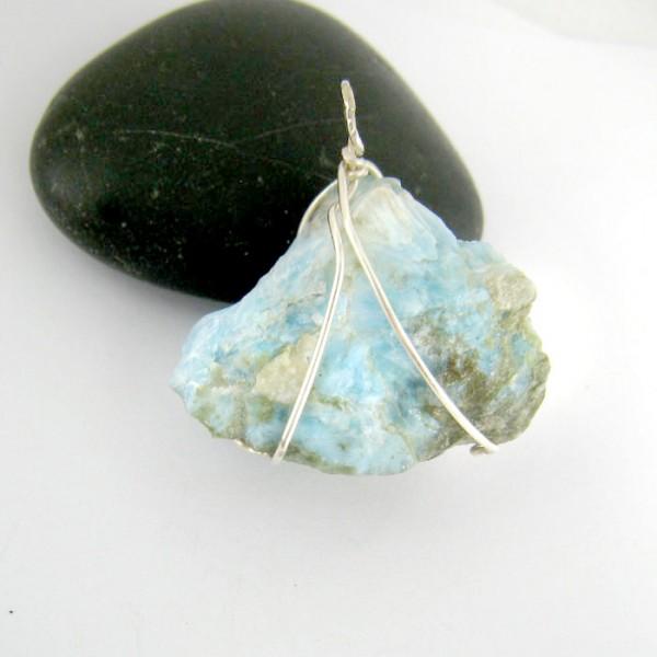 Anh nger stein mit silberdraht ys8 594 kaufen auf larimar - Silberdraht kaufen ...