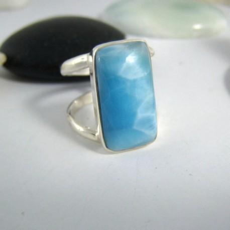 Ларимар Ювелирное кольцо четырехугольник YV2 9695 Larimar-Stone