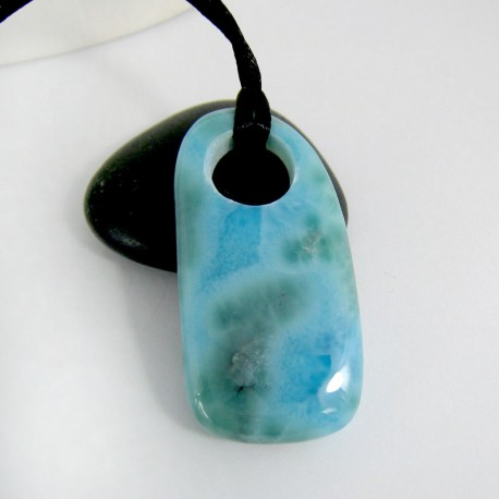 Ларимар камень пробурена с лентой Minion4 9895 Larimar-Stone