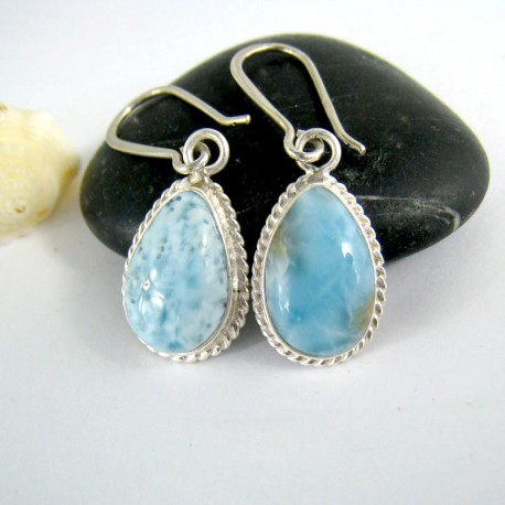 dangle amazon simulated earrings pear silvertone com shape dp larimar
