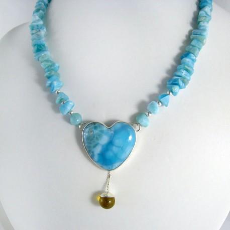Larimar-Stone Yamir Collier Necklace Haert 10002 599,00 €