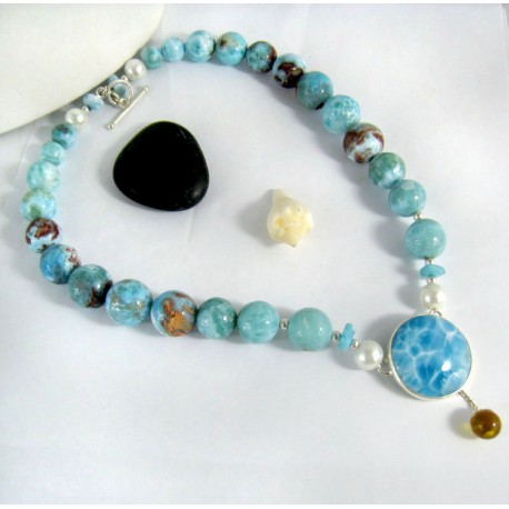 Larimar-Stone Yamir Collier Beads Necklace Sterling Silver YC1 10003 749,00 €
