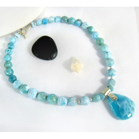 Larimar-Stone Yamir Collier Beads Necklace Sterling Silver YC10 10004 699,00 €
