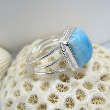 Ларимар Ювелирное кольцо четырехугольник Anu LV3 10127 Larimar-Stone