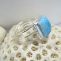 Ларимар Ювелирное кольцо четырехугольник Anu LV3