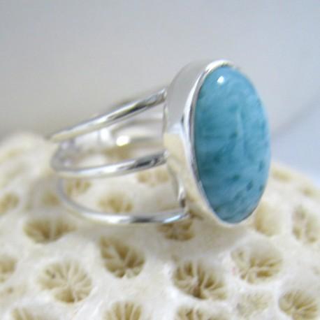 Ларимар Ювелирное кольцо овальный Bar Y10 10123 Larimar-Stone