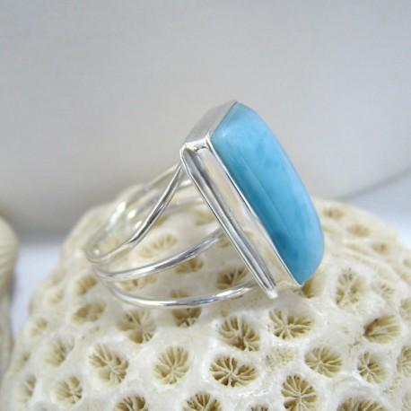 Ларимар Ювелирное кольцо четырехугольник ECE LV4 10117 Larimar-Stone