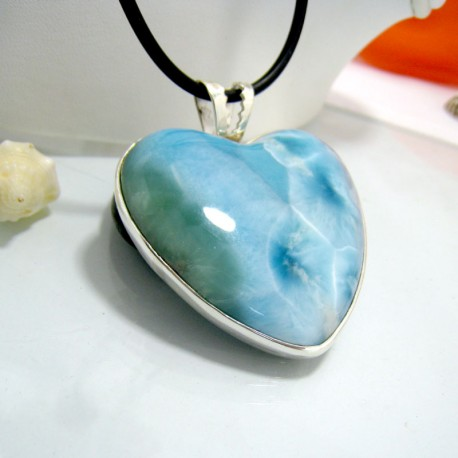 XXL Ларимар ювелирные изделия сердце HZ1a 10306 Larimar-Stone