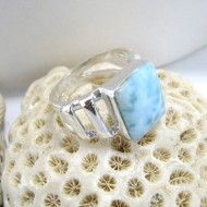 Ларимар Ювелирное кольцо четырехугольник YL5 10109 Larimar-Stone
