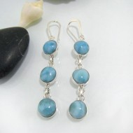 Larimar EarringsTriple Round