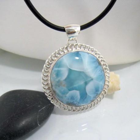 Ларимар ювелирные изделия круглый YR2a 10640 Larimar-Stone