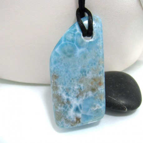 XXL Ларимар камень пробурена с лентой SB142 10701 Larimar-Stone