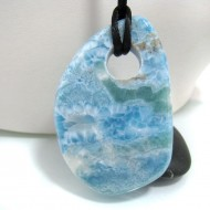XXL Ларимар камень пробурена с лентой SB145