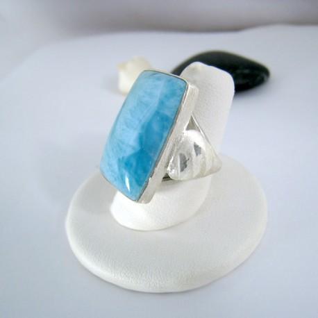 Ларимар Ювелирное кольцо четырехугольник 9114 Larimar-Stone