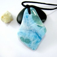 XL Ларимар камень пробурена с лентой SB154 11111 Larimar-Stone