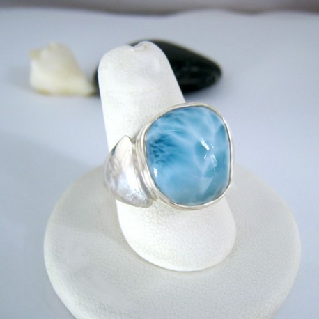 Larimar-Stone Yamir Larimar Luxury Ring Freeform 9116 89,00 €