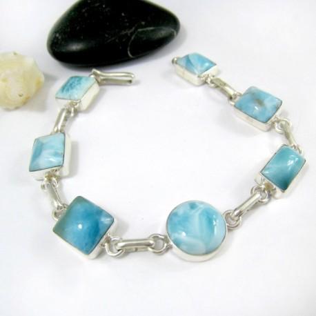 Larimar-Stone Silber Armband mit 7 Larimar Steinen LC37 11220 89,00 €