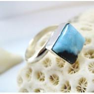 Ларимар Ювелирное кольцо четырехугольник LV16 11258 Larimar-Stone
