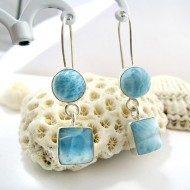 Larimar-Stone Larimar Earrings Round Square VR2 11269 59,00 €
