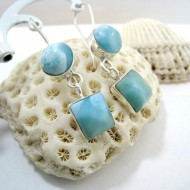 Larimar-Stone Larimar Earrings Round Square VR3 11275 59,00 €