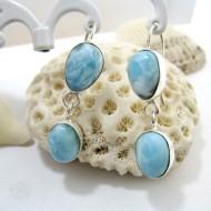 Larimar Earrings Drop Oval YO36