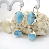 Larimar Earrings Drop Round YO38