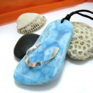 XXL Ларимар камень пробурена с лентой 925 Silver- 11460 Larimar-Stone