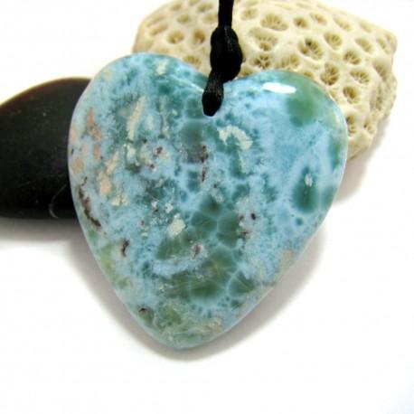 Larimar-Stone XL Larimar Stone Polished with drilled hole Heart 11461 189,90 €