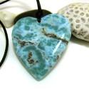 XL Larimar Stein mit Bohrung und Band Herz HZ5