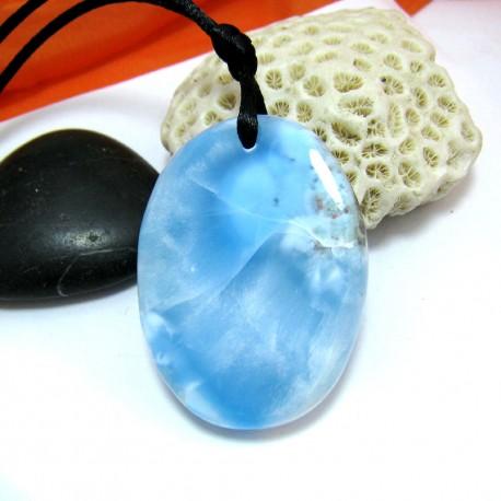XL Ларимар камень пробурена с лентой SB289 11498 Larimar-Stone