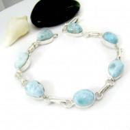 Silber Armband mit 7 Larimar Steinen LC45