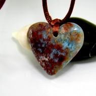 Larimar Stein mit Bohrung und Band Herz LH8