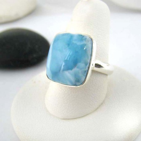 Ларимар Ювелирное кольцо четырехугольник 02 9272 Larimar-Stone